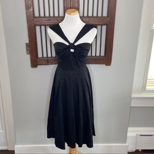 BLACK HALO HALTER BLACK COTTON FIT AND FLARE SZ S
